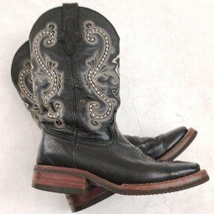 🤠 Ferrini Size 7 Square Toe Leather Western Boots 🤠